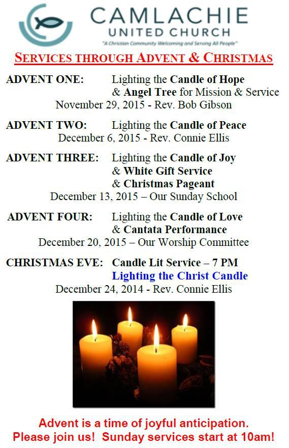 2015 Advent Schedule